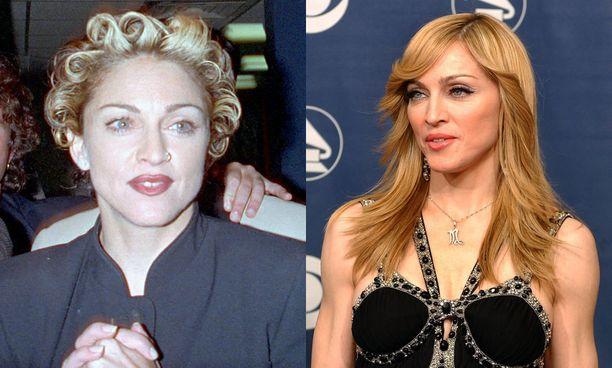 Tyylitaituri Madonna hurahti myös muoti-ilmiöön ja otti nenäkorun 1990-luvun alussa.