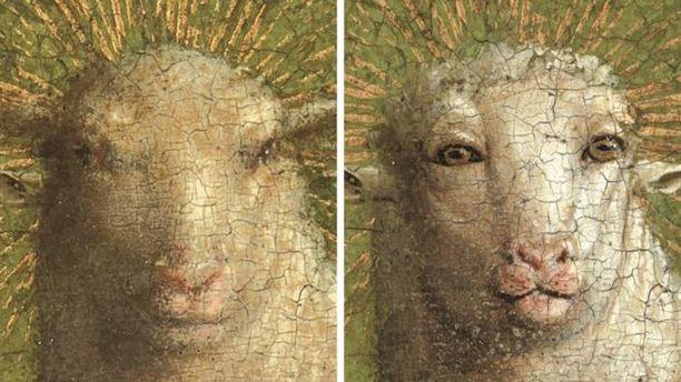 Vasemmalla lammas sellaisena kuin se nähtiin viimeiset 500 vuotta. Oikealla maalikerrosten alta paljastunut alkuperäinen teos.