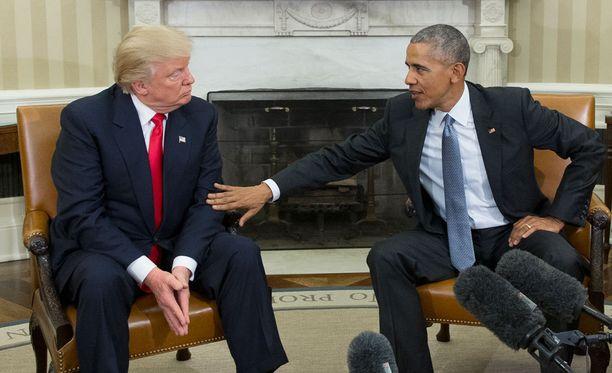 """Donald Trump sanoi tapaamisen jälkeen, että oli """"suuri kunnia"""" tavata presidentti Barack Obama."""