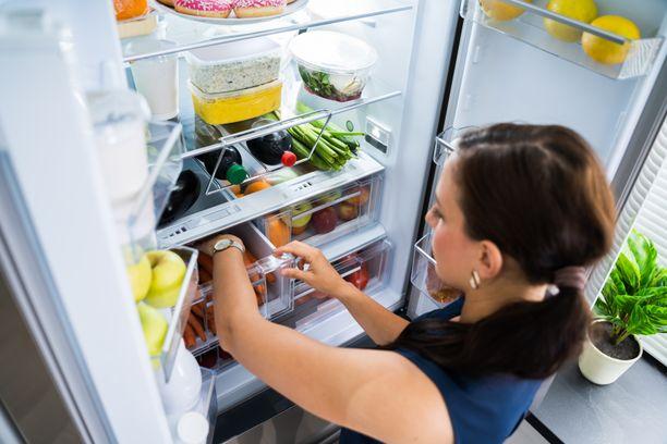 Kylmälaitteet ovat kovilla kesällä. Älä pidä jääkaappia turhaan auki. Kuvituskuva.