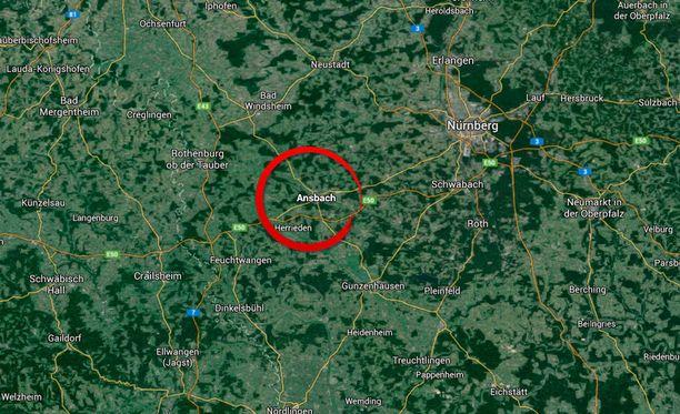 Tällä alueella ampuja ammuskeli Baijerin Ansbachissa.