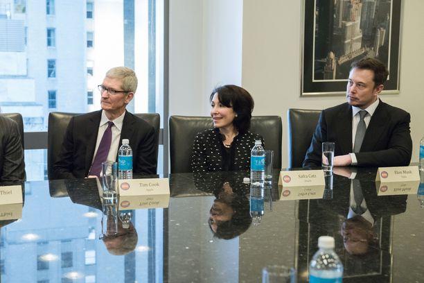 Applen toimitusjohtaja Tim Cook (vasemmalla) ja Teslan toimitusjohtaja Elon Musk (oikealla) tapasivat Yhdysvaltain entisen presidentin Donald Trumpin järjestämässä kokouksessa 14. joulukuuta 2016.