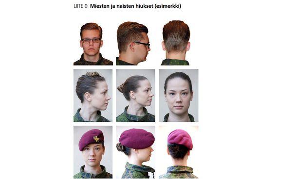 Palvelusohjesäännöissä on esimerkkikuvat sallituista hiustyyleistä.