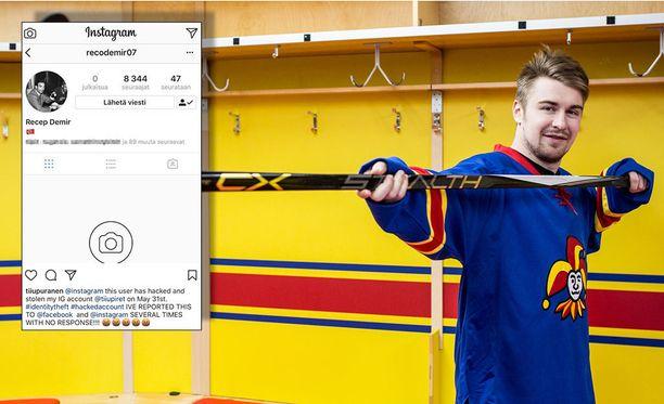 Jokereissa pelaavan Pekka Jormakan Instagram-tili päätyi vääriin käsiin. Kuvakaappaus Lainahöyhenissä-blogia pitävän Tiiu Purasen Instagram-profiilista, joka koki saman kohtalon: Se kaapattiin ja sieltä on poistettu kaikki.