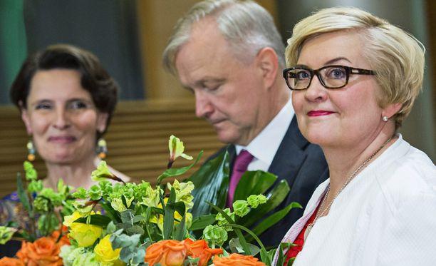 Keskustan ministerit Berner, Rehn ja Vehviläinen vastanimitettyinä toukokuussa.