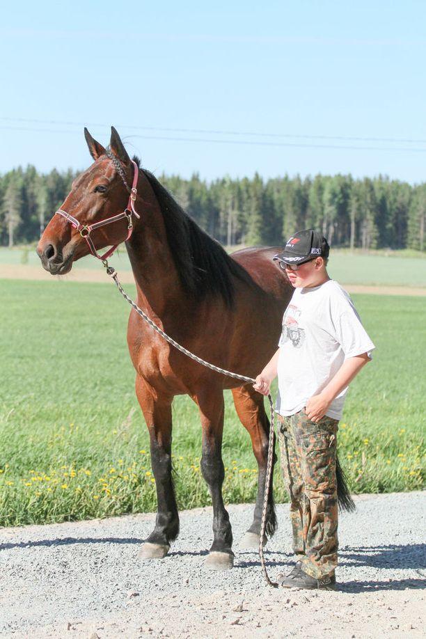 """Leevi Hautala halusi kuvaan Laboulaye Ladyn eli """"Armin"""" kanssa. Leevi myös toisinaan soittaa hevosille kitaraa laulun kera."""