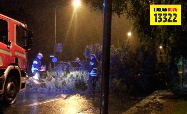 Tampereen Pispalassa ukonilma kaatoi puun bussipysäkin päälle.