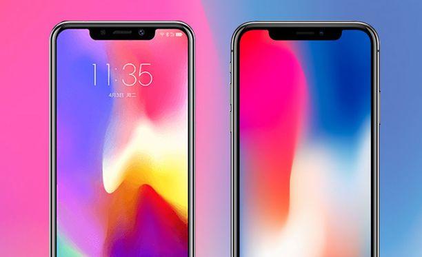 Vasemmalla Motorola P30 ja oikealla Iphone X.