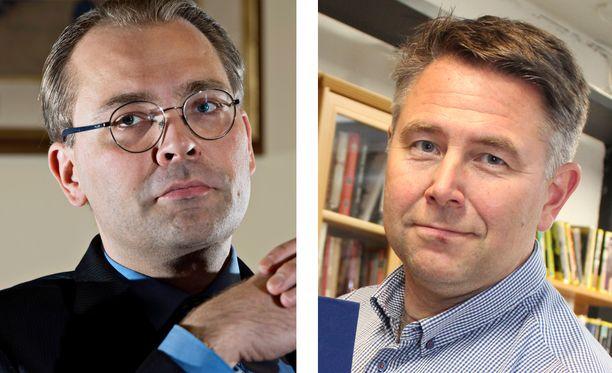 Ex-puolustusministeri Jussi Niinistö ja tämän erityisavustaja Petteri Leino.