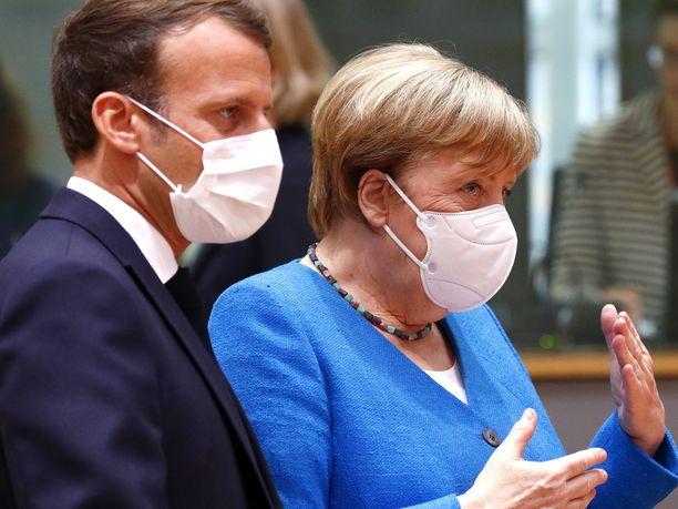 Ranskan presidentti Emmanuel Macron ja Saksan liittokansleri Angela Merkel yrittävät löytää ratkaisua Brysselissä käytäviin EU-neuvotteluihin.