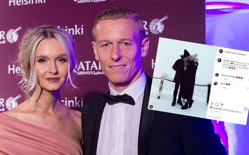 Metti ja Mikael Forssell lemmenlomalla upeissa talvimaisemissa: Katso herkkä pusukuva