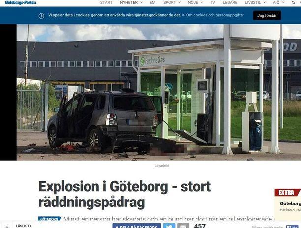 Göteborgsposten julkaisi lukijan ottaman kuvan onnettomuusautosta.
