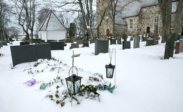 Joulusynkeyteen virittäydytään hautausmaalla.