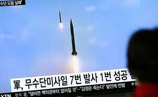 Kuva Pohjois-Korean ohjuskokeesta viime vuoden syksyltä.