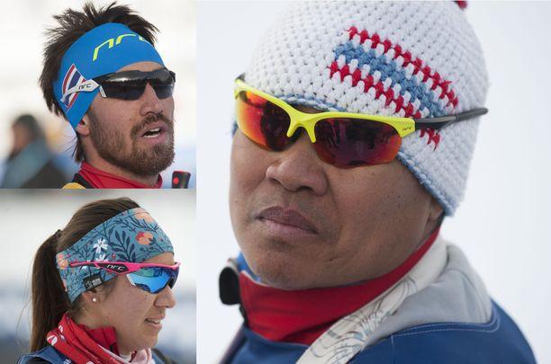 Mark (vas. yläkuva), Karen ja Boonchan Chanloung muodostavat Thaimaan hiihtomaajoukkueen kovan ytimen.