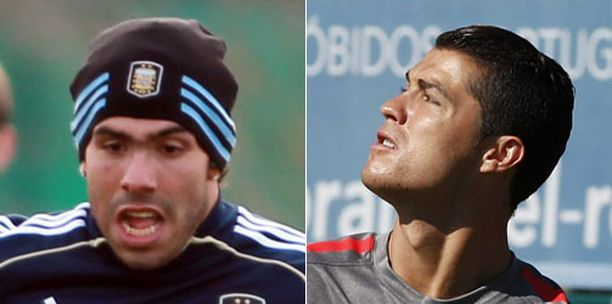 Carlos Tevéz ja Christiano Ronaldo.