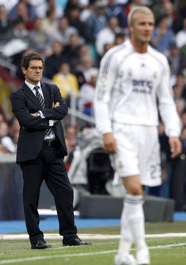 Fabio Capello valmensi David Beckhamia jo Real Madridissa.