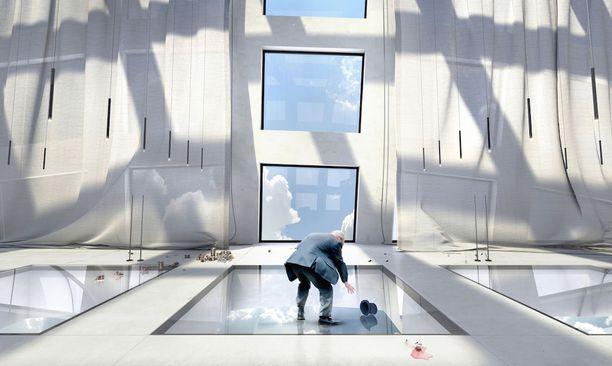 Oiio Studiosin julkaisema havainnekuva kaareutuvasta pilvenpiirtäjästä.