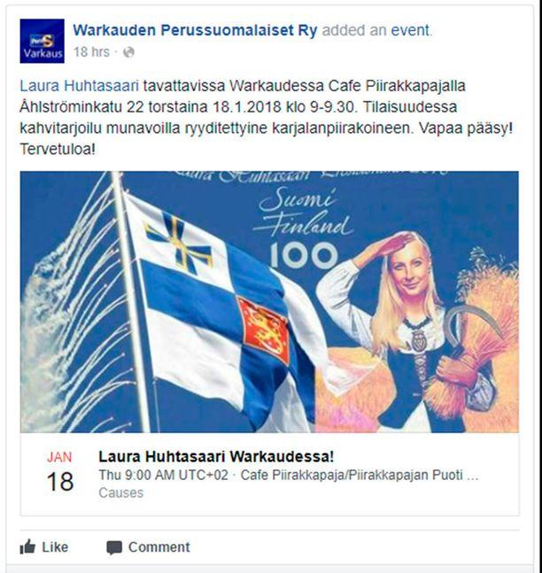 Presidenttiehdokas Laura Huhtasaaren kampanjailmettä on syytetty aikaisemmin Suomi 100 -kampanjan kopioksi.