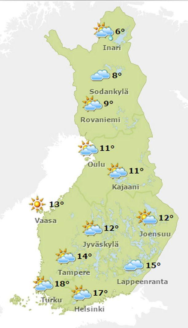 Lauantain lämpötilat.