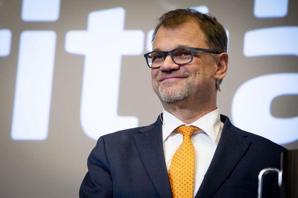 Keskustan puheenjohtaja, pääministeri Juha Sipilä Suomen Yrittäjien vaalitentissä helmikuun alussa.
