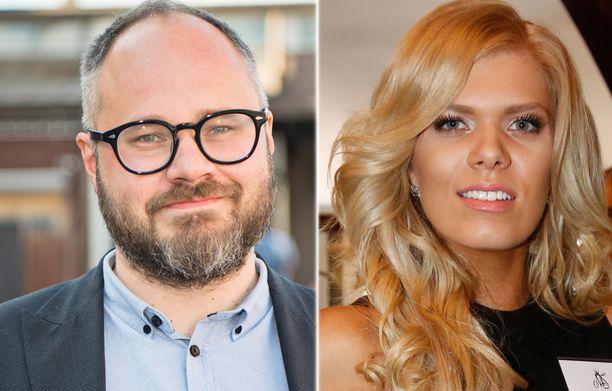 Tuomas Enbuske ja Eveliina Tikka seurustelevat.