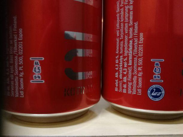 Iltalehden lukija huomasi, että Lidlin punaisen oluen prosentti on pienentynyt.