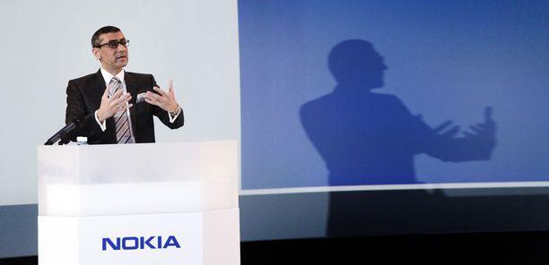 Nokian toimitusjohtaja Rajeev Suri Nokian infossa huhtikuussa 2015.