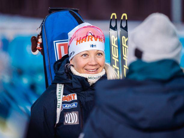 Kaisa Mäkäräinen on mukana Vuokatin valmennusviikolla.