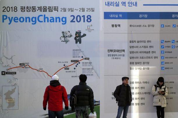 Talviolympialaiset järjestetään Etelä-Korean maakunnassa Pyeongchangissa. Näin olympialaisia mainostettiin Soulissa tammikuun alussa.