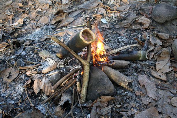 Itse tehdyllä nuotiolla bambukattilassa porisee yrttejä ja kotiloita.