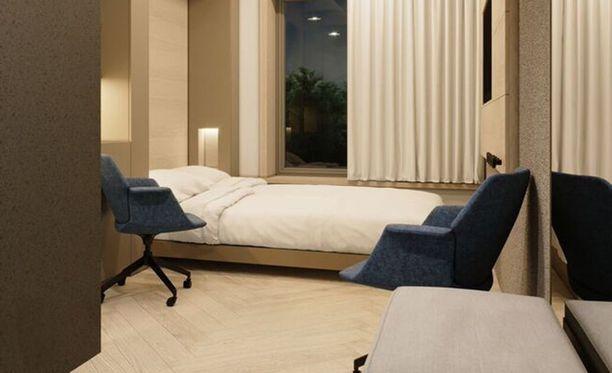 Hotellin huoneet sopivat niin asuin- kuin toimistokäyttöönkin. Niiden muunneltavan sisustuksen on suunnitellut sisustusarkkitehti Minna Hurme.