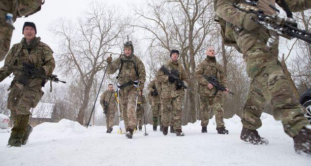 Virossa on Nato-joukkoja luomassa pelotevaikutusta Venäjää kohtaan. Kuva maaliskuun alusta Muhun saarelta, jossa Naton taisteluosasto harjoitteli.