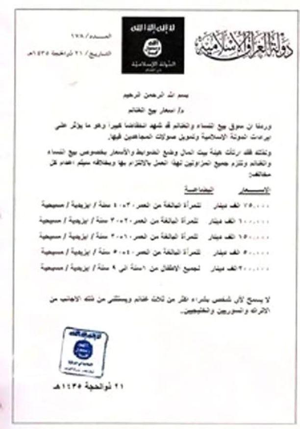 Iraqi Newsin julkaiseman dokumentin mukaan Isis on määritellyt myytäville kristityille ja jesideille hinnaston. Dokumentin alkuperästä ei ole varmuutta.