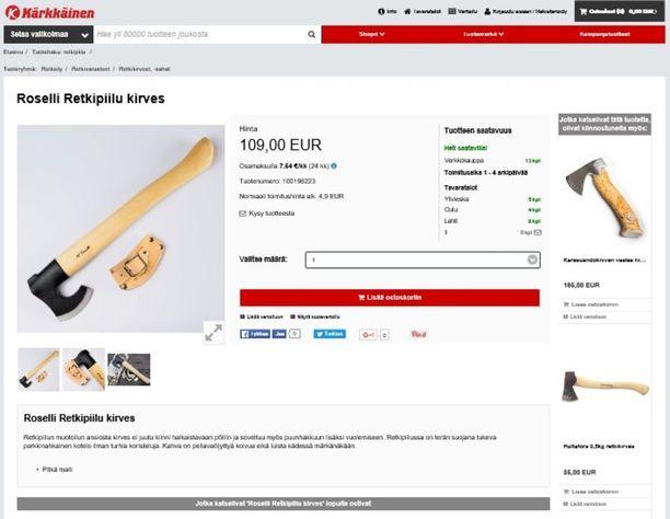 Kärkkäisen verkkokaupassa myydään suomalaisen Rosellin valmistamia kirveitä.