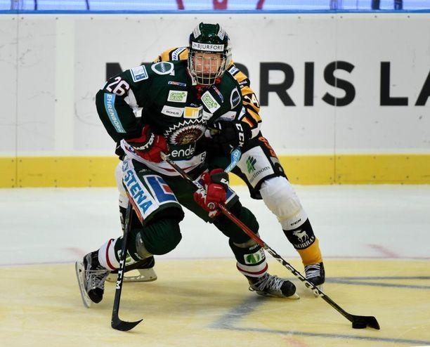 Frölundan paidassa pelaava Rasmus Dahlin iski lauantaina maalin SHL:ssä.