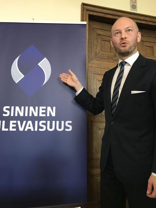 Sinisen tulevaisuuden puheenjohtaja Sampo Terho paljasti tiistaina puolueen uuden logon.