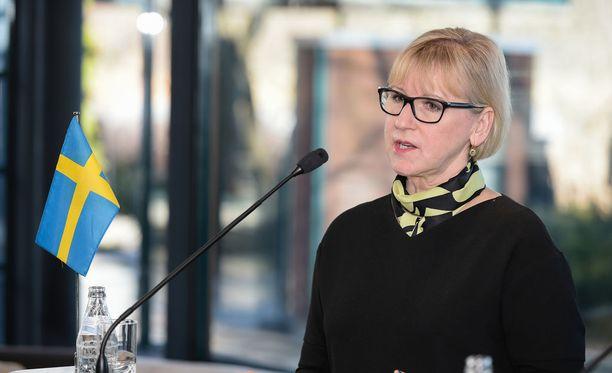 Ruotsin ulkoministeri Margot Wallström kuvattuna Helsingin vierailunsa aikana maaliskuussa.