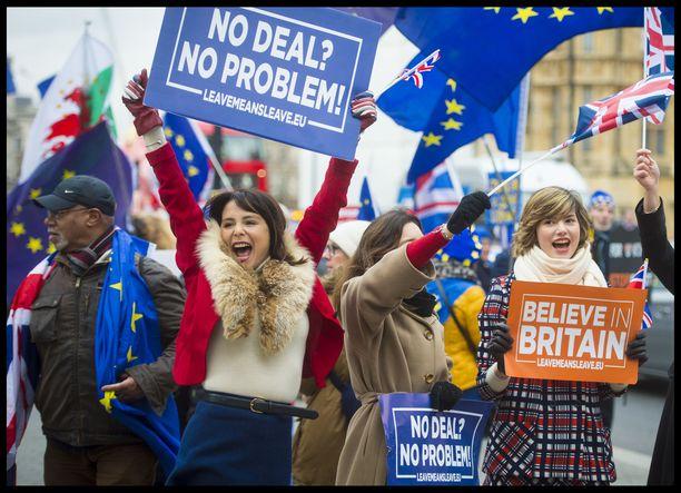 Britannian parlamenttitalolla osa mielenosoittajista oli sitä mieltä, että Britannia voi hyvin erota EU:sta ilman minkäänlaista sopimusta. Jopa konservatiivien mukaan se kuitenkin tietäisi kaaosta ja merkittäviä taloudellisia tappioita tulevina vuosina.