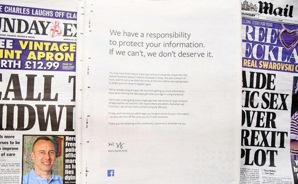 Mainos englantilaisessa Observer-lehdessä.