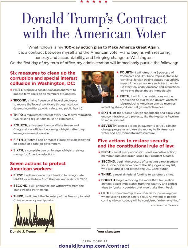 Trumpin sopimuksen ensimmäinen sivu.