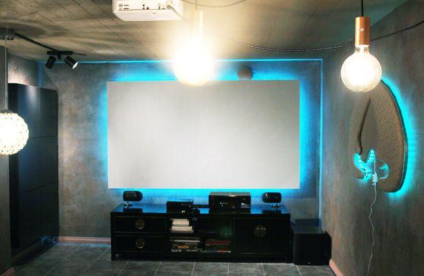 Valkokankaalla varustettu leffahuone on myös vierashuone.