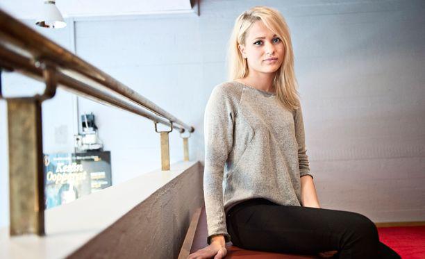 Sanni Miss Farkku-Suomi -elokuvan lehdistönäytöksessä kesällä 2012.