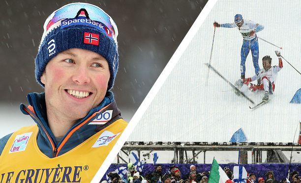 Emil Iversen kolaroi Iivo Niskasen kanssa Lahden MM-kisojen pariviestissä vuonna 2017.