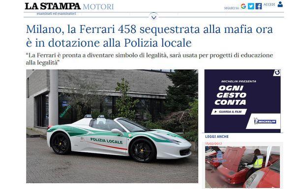Poliisin uudesta Ferrarista kertoi viime viikolla italialainen sanomalehti La Stampa.