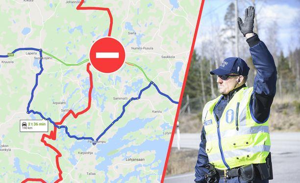 Näin pienellä koukkauksella Googlen mukaan Helsingistä pääsee Turkuun.