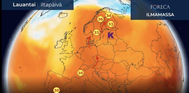 Forecan kuvasta näkyy, kuinka kuuma käristyskupoli kakkonen on.