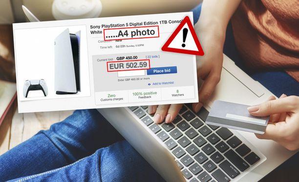 Ebayssa on useita listauksia, joissa myydään vain kuvia PS5-konsolista.