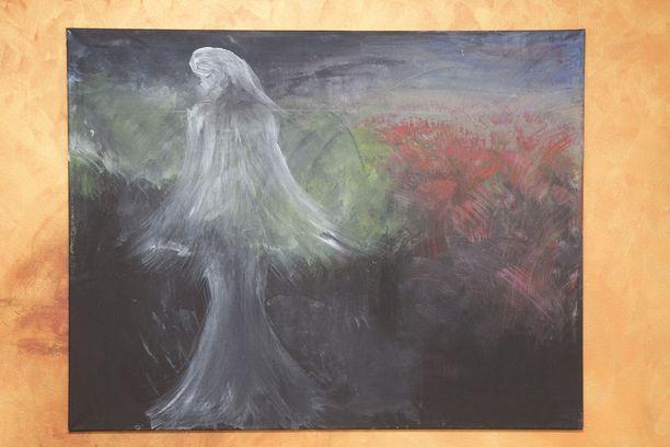 Saija Varjus työstää surutyötään maalaamalla. Tässä taulussa on syksyllä menehtynyt äiti.