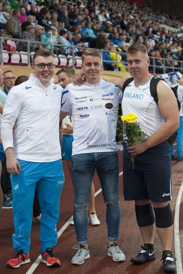 Kankaan veljekset Aaron (vas.), Tuomas ja Arttu.